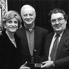 John Hume MP MEP with Fr Myles KavanaghCP, Chairman, Flax Trust, Jean Kennedy Smith, US Ambassador to Ireland